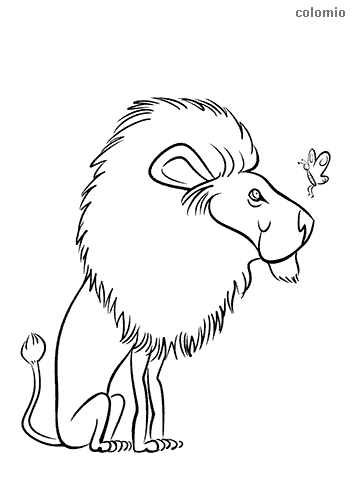 Funny lion with butterfly coloring page