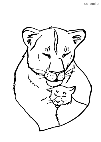 Lioness with baby coloring page