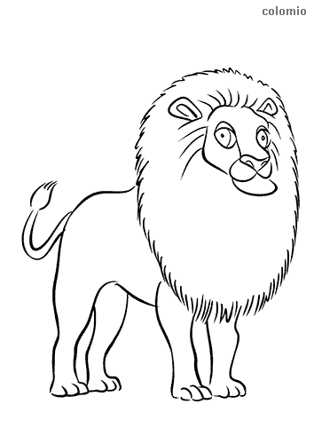 Proud lion with big mane coloring sheet