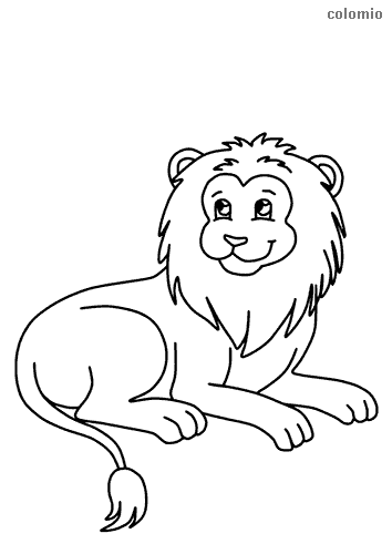 Smiling lion coloring sheet