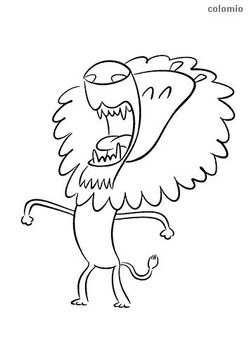 Dibujo de León divertido rugiendo para colorear