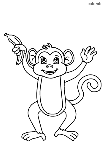 Cute small monkey with banana coloring sheet