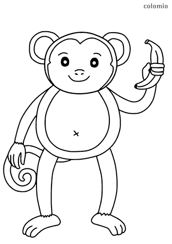 Sweet monkey with banana coloring sheet