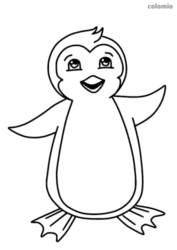 Smiling penguin coloring sheet