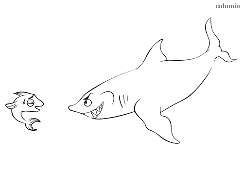 Smiling shark with small fish coloring page
