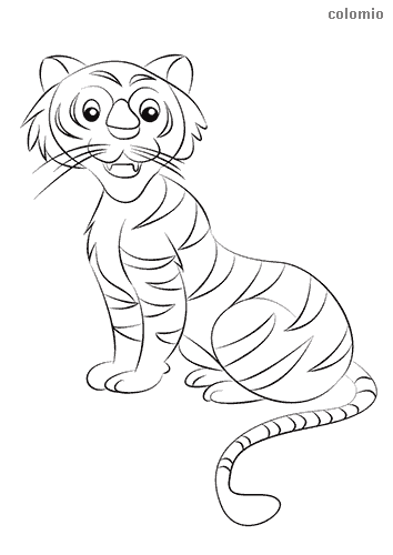 Funny tiger coloring page