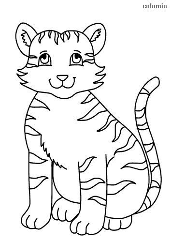 Little smiling tiger coloring page