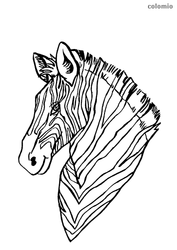 Cute zebra head coloring page