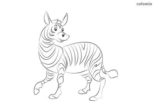 Funny smiling zebra coloring sheet