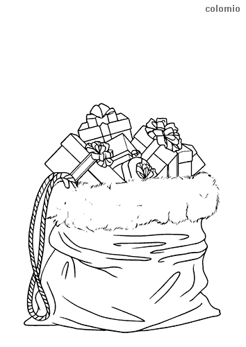 Bag of gifts coloring page