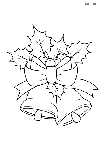 Christmas bells with a bow coloring page