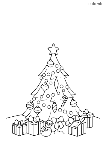 Christmas tree with gifts and star coloring page