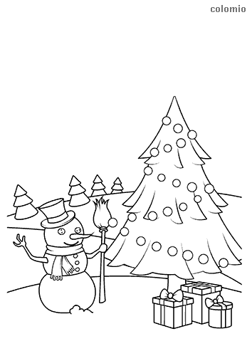Christmas tree with snowman coloring page