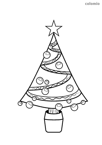 Christmas tree with star coloring sheet