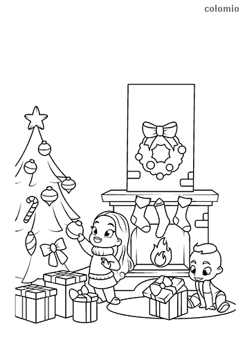 Kids with Christmas tree and presents coloring sheet