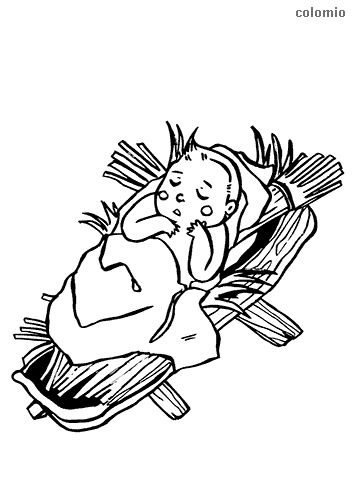 Manger with baby Jesus coloring page
