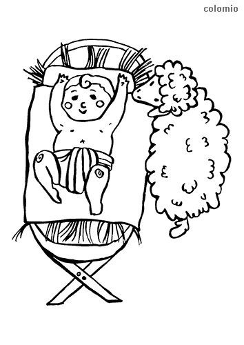 Manger with smiling baby Jesus and sheep coloring page