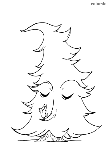 Cute fir tree with face and bird coloring page