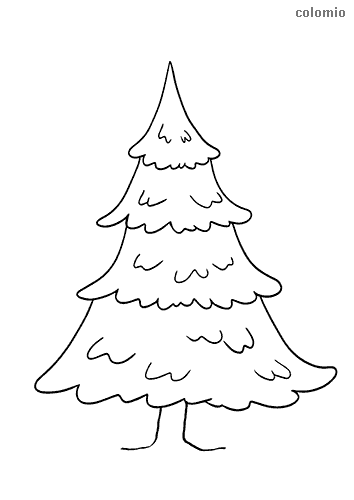 Fir-tree with trunk coloring sheet