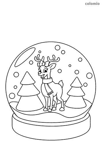 Snow globe with fir trees and reindeer coloring page