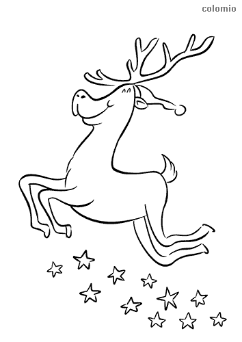 Cute reindeer with hat and stars coloring page