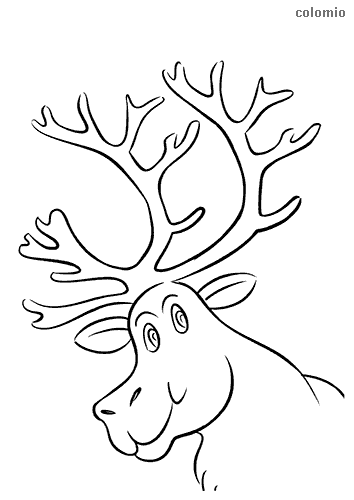 Funny reindeer head coloring sheet