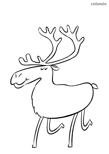 Happy reindeer coloring sheet
