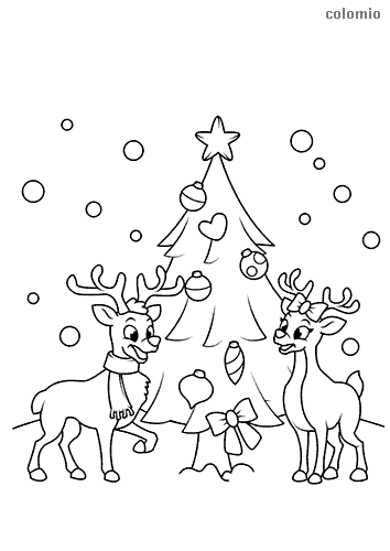 Pair of reindeers with christmas tree coloring page