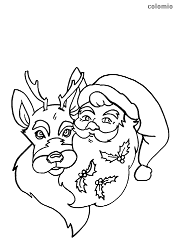 Reindeer head and santa claus head coloring page