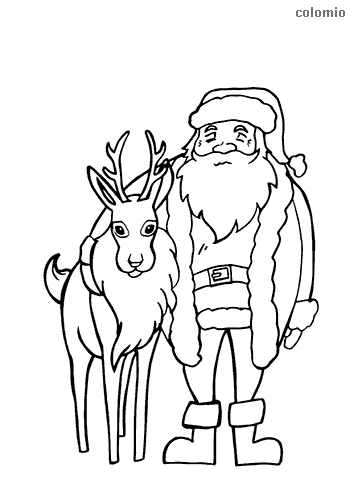 Reindeer with santa claus coloring page