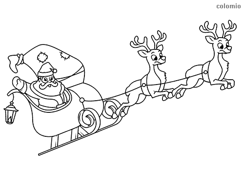 Santa and sleigh with reindeer coloring page