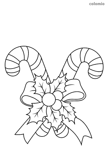 Candy canes with a bow and mistletoe coloring page