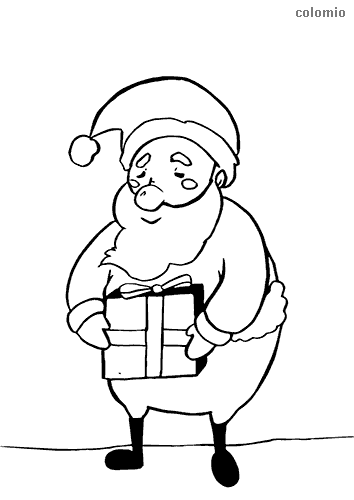 Cute Santa Claus with a present coloring page