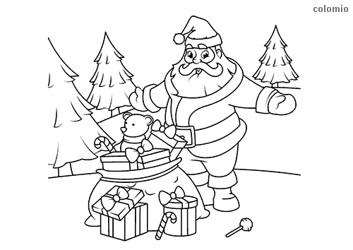 happy santa claus with gifts in the forest coloring sheet