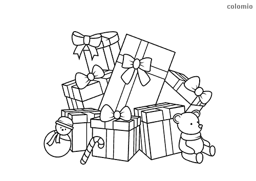 Mountain of presents with teddy bear coloring page