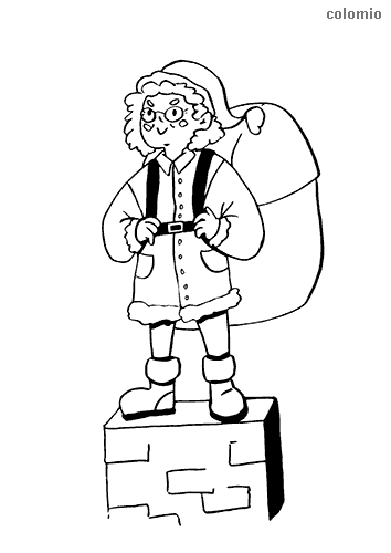 Mrs. Claus on the chimney coloring page