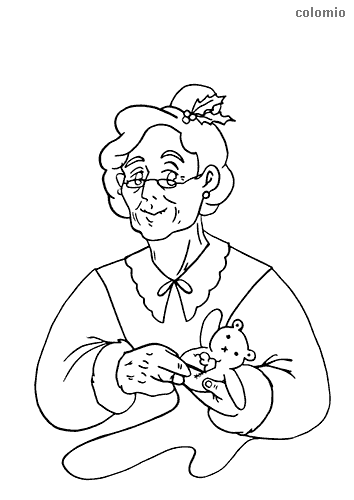 Mrs. Claus with teddy bear coloring page