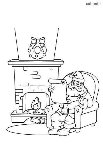 Santa Claus in front of the fireplace with wish list coloring page