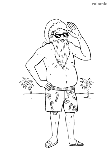 Santa Claus on summer vacation coloring page
