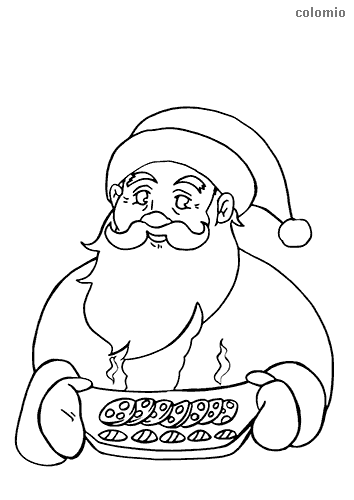 Santa Claus with cookies coloring page