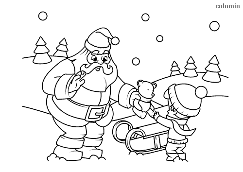 Santa Claus with kid and teddy bear coloring page