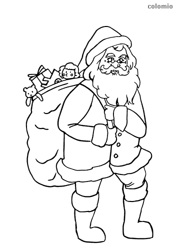 Santa with bag of presents coloring sheet