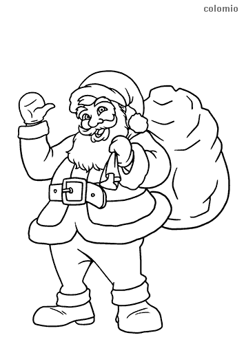 Waving Santa Claus with a gift bag coloring page