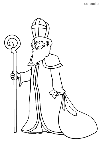 St-Nicholas with crosier coloring page
