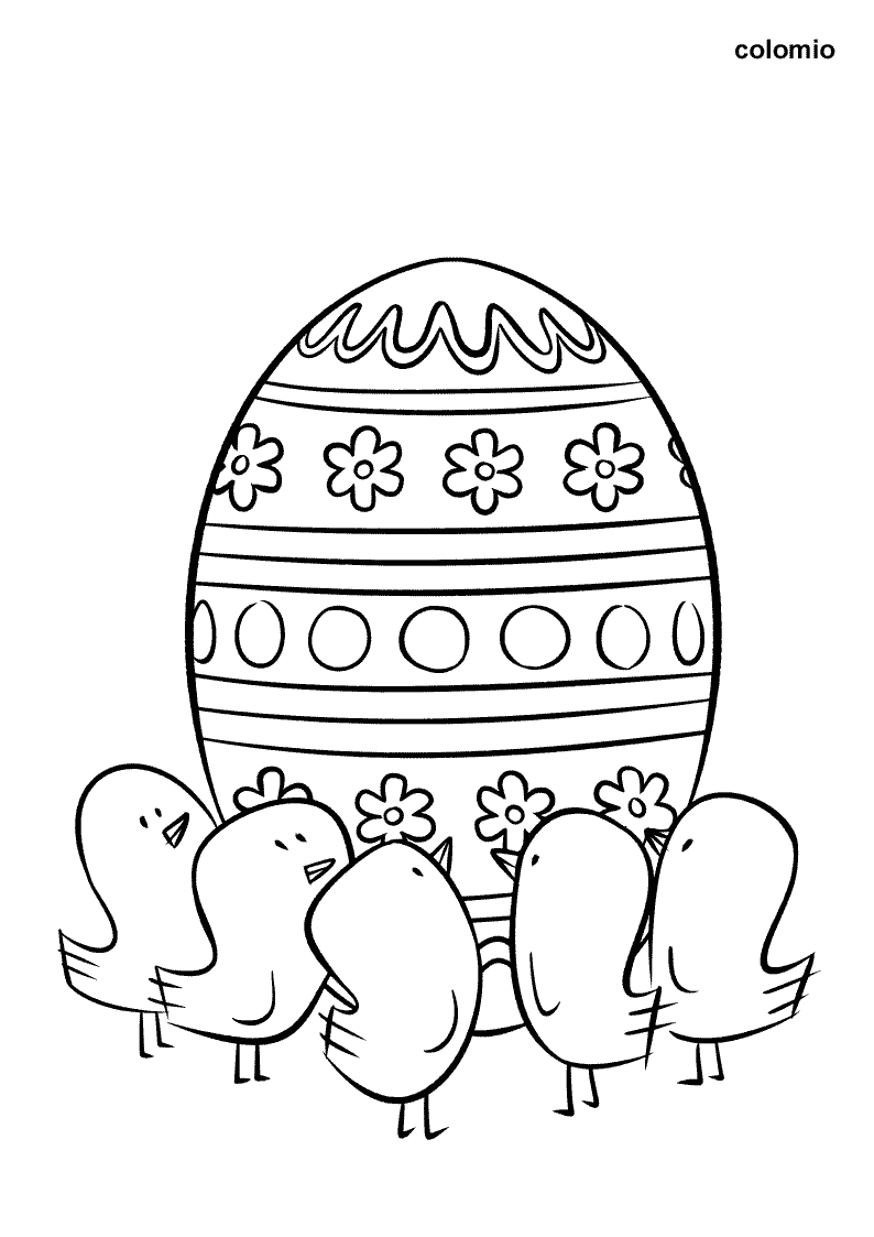 Chicks with Easter Egg coloring page