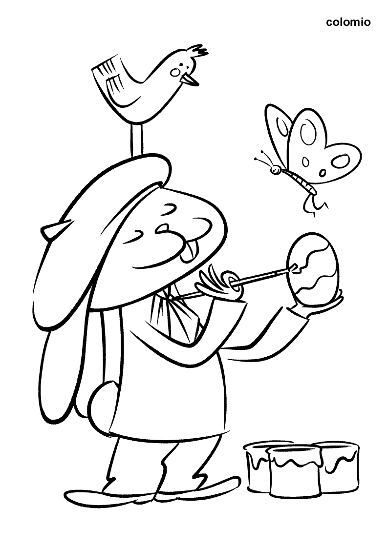 Easter Bunny painted Eggs coloring page