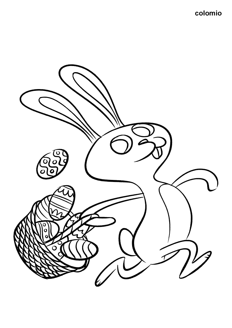 Easter Bunny with Basket and Eggs coloring page