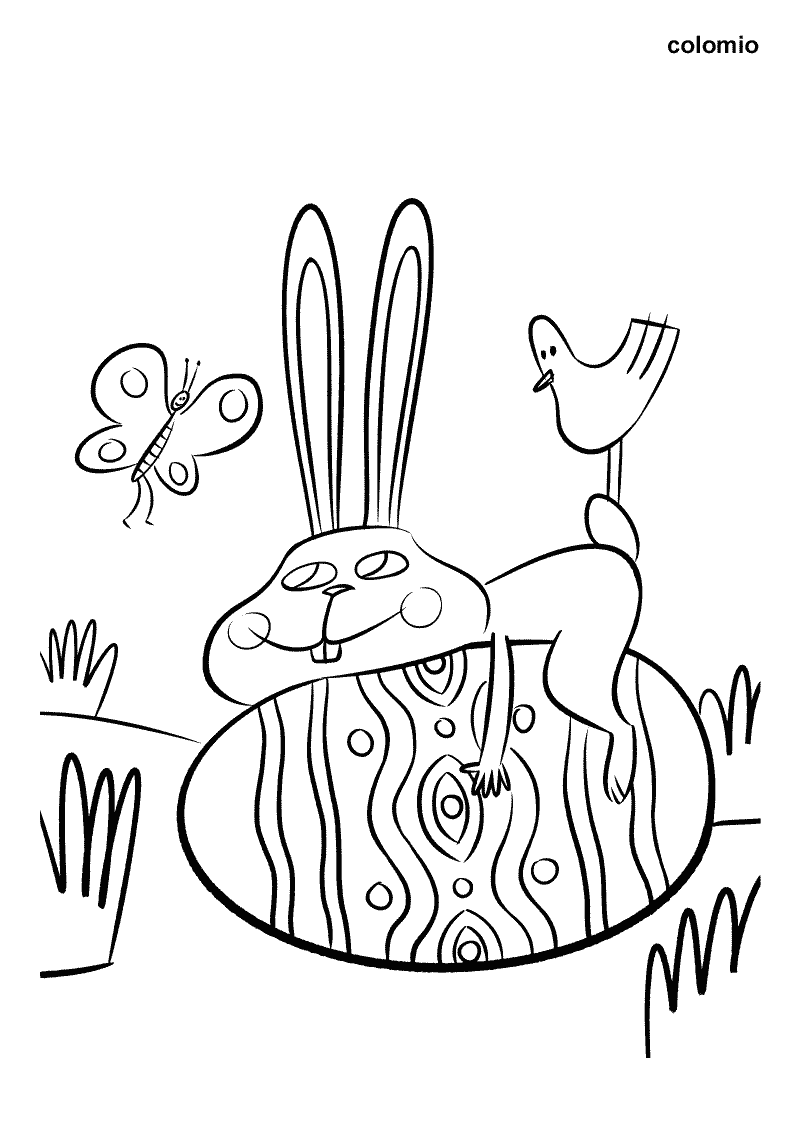 Easter Bunny with Egg and Butterfly coloring page