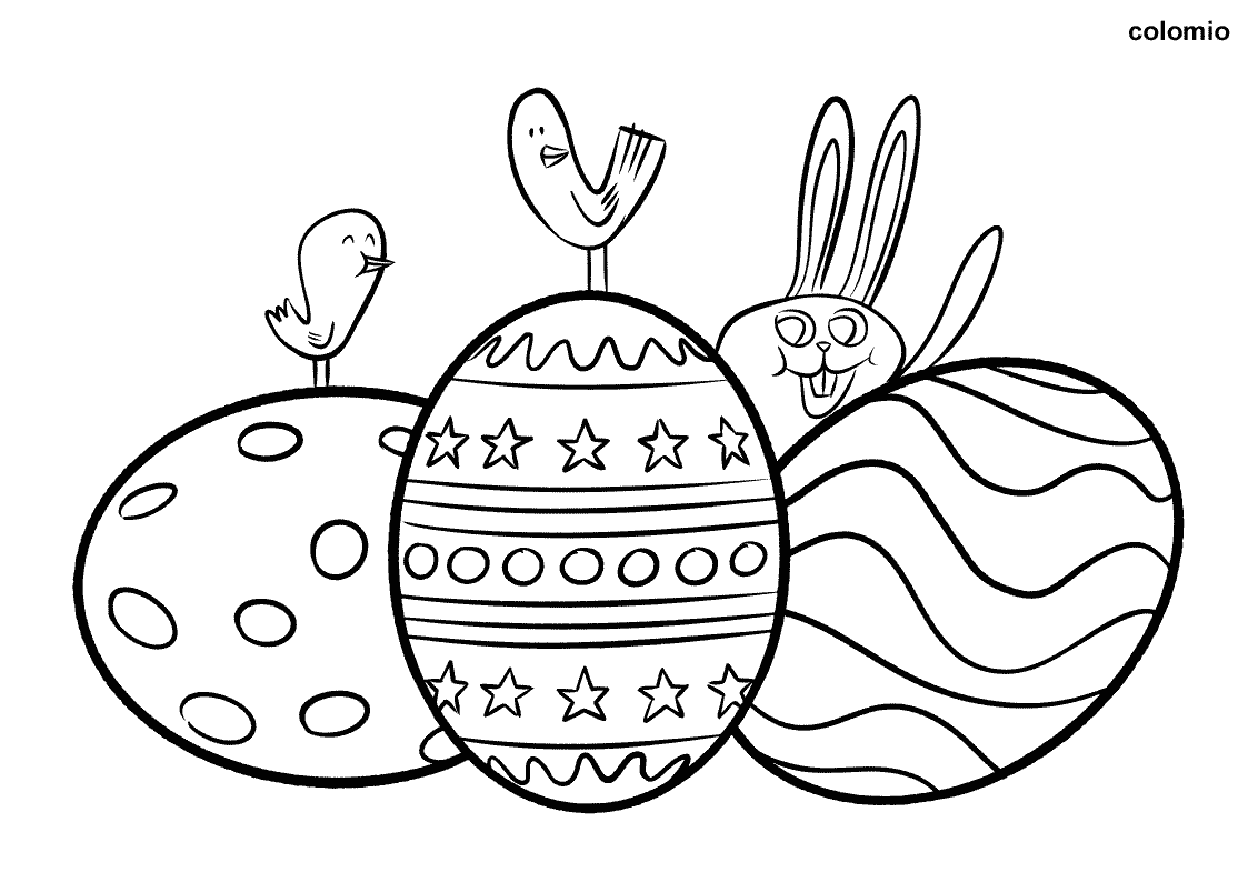 Easter eggs with Chicks and Easter Bunny coloring page
