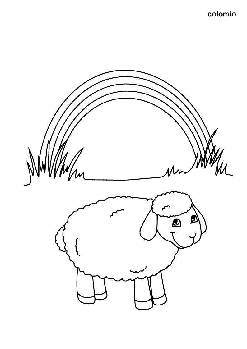 Lamb with Rainbow coloring page